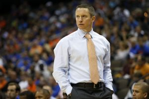 Nov 11, 2016; Jacksonville, FL, USA; Florida Gators head coach Mike White looks on in the second half against the Florida Gulf Coast Eagles at Jacksonville Veterans Memorial Arena. Florida Gators 80-59. Mandatory Credit: Logan Bowles-USA TODAY Sports