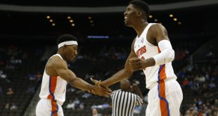 Nov 11, 2016; Jacksonville, FL, USA; Florida Gators forward Kevarrius Hayes (13) and guard KeVaughn Allen (5) slap hands after a play against the Florida Gulf Coast Eagles in the second half at Jacksonville Veterans Memorial Arena. Florida Gators 80-59. Mandatory Credit: Logan Bowles-USA TODAY Sports