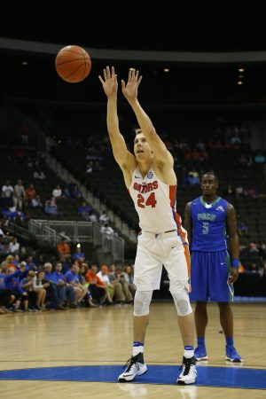 Nov 11, 2016; Jacksonville, FL, USA; Florida Gators guard Canyon Barry (24) takes a under hand free throw in the second half against the Florida Gulf Coast Eagles at Jacksonville Veterans Memorial Arena. Florida Gators won 80-59. Mandatory Credit: Logan Bowles-USA TODAY Sports