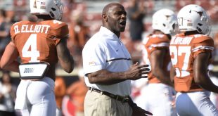 Nov 12, 2016; Austin, TX, USA; Texas Longhorns head coach Charlie Strong reacts during warm-ups prior to kickoff against the West Virginia Mountaineers at Darrell K Royal-Texas Memorial Stadium. Mandatory Credit: Brendan Maloney-USA TODAY Sports