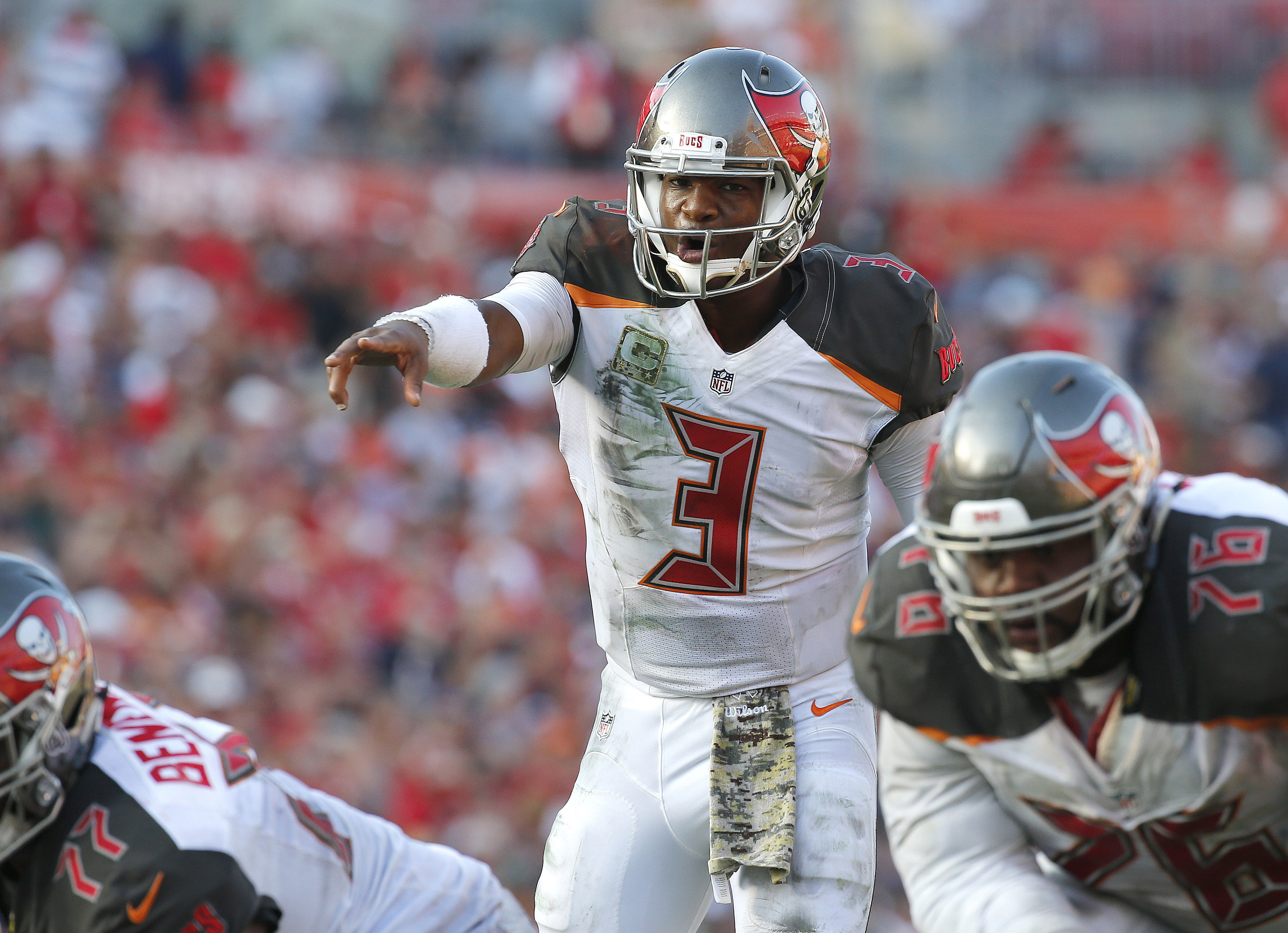 Nov 13, 2016; Tampa, FL, USA; Tampa Bay Buccaneers quarterback Jameis Winston (3) points against the Chicago Bears during the second half at Raymond James Stadium. Tampa Bay Buccaneers defeated the Chicago Bears 36-10. Mandatory Credit: Kim Klement-USA TODAY Sports