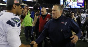 Nov 13, 2016; Foxborough, MA, USA; New England Patriots head coach Bill Belichick greets Seattle Seahawks quarterback Russell Wilson (3) after the game at Gillette Stadium. Seattle Seahawks defeated the Patriots 31-24. ---David Butler II---USA TODAY