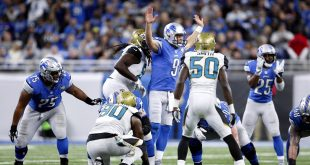 Nov 20, 2016; Detroit, MI, USA; Detroit Lions quarterback Matthew Stafford (9) draws an offside call during the fourth quarter against the Jacksonville Jaguars at Ford Field. Lions won 26-19. Mandatory Credit: Raj Mehta-USA TODAY Sports