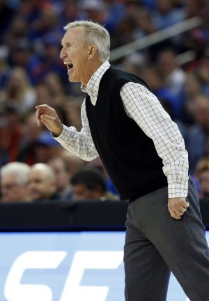 Nov 21, 2016; Tampa, FL, USA; Belmont Bruins head coach Rick Byrd reacts during the first half against the Florida Gators at Amalie Arena. Mandatory Credit: Kim Klement-USA TODAY Sports