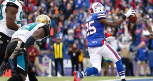 Nov 27, 2016; Orchard Park, NY, USA; Buffalo Bills running back LeSean McCoy (25) runs for a touchdown during the first half against the Jacksonville Jaguars at New Era Field. Mandatory Credit: Kevin Hoffman-USA TODAY Sports