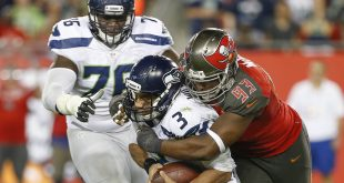Nov 27, 2016; Tampa, FL, USA; Tampa Bay Buccaneers defensive tackle Gerald McCoy (93) sacks Seattle Seahawks quarterback Russell Wilson (3) during the second half of an NFL football game at Raymond James Stadium. The Buccaneers won 14-5. Mandatory Credit: Reinhold Matay-USA TODAY Sports