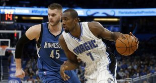 Nov 9, 2016; Orlando, FL, USA;  Orlando Magic forward Serge Ibaka (7) drives to the basket as Minnesota Timberwolves center Cole Aldrich (45) defends during the second half at Amway Center. Minnesota Timberwolves defeated the Orlando Magic 123-107. Mandatory Credit: Kim Klement-USA TODAY Sports