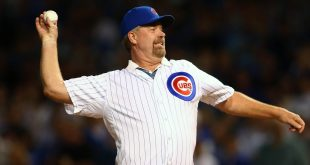 October 20, 2015; Chicago, IL, USA; Chicago Cubs former player Rick Sutcliffe throws out the first pitch before the Cubs play against the New York Mets in game four of the NLCS at Wrigley Field. Mandatory Credit: Jerry Lai-USA TODAY Sports