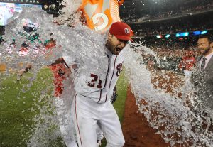 May 11, 2016; Washington, DC, USA; Washington Nationals starting pitcher Max Scherzer (31) is doused with water after striking out an MLB record 20 batters against the Detroit Tigers at Nationals Park. The Washington Nationals won 3-2. Mandatory Credit: Brad Mills-USA TODAY Sports