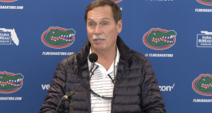 UF Swimming and Diving Head Coach Greg Troy addresses the media on Monday at his weekly press conference.