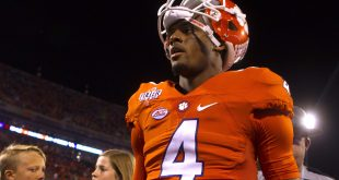 Nov 12, 2016; Clemson, SC, USA; Clemson Tigers quarterback Deshaun Watson (4) walks off the field after the game against the Pittsburgh Panthers at Clemson Memorial Stadium. Panthers won 43-42. Mandatory Credit: Joshua S. Kelly-USA TODAY Sports