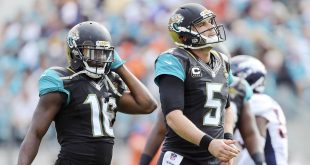 Dec 4, 2016; Jacksonville, FL, USA;  Jacksonville Jaguars quarterback Blake Bortles (5) and Jacksonville Jaguars wide receiver Allen Robinson (15) react after a play in the second quarter against the Denver Broncos at EverBank Field. Mandatory Credit: Logan Bowles-USA TODAY Sports