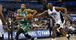 Dec 7, 2016; Orlando, FL, USA;  Boston Celtics center Al Horford (42) drives to the basket as Orlando Magic center Bismack Biyombo (11) attempted to defend during the second half at Amway Center. Boston Celtics defeated the Orlando Magic 117-87. Mandatory Credit: Kim Klement-USA TODAY Sports