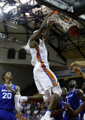 Nov 24, 2016; Kissimmee, FL, USA; Florida Gators center John Egbunu (15) dunks against the Seton Hall Pirates during the second half at HP Field House. Florida Gators defeated the Seton Hall Pirates 81-76. Mandatory Credit: Kim Klement-USA TODAY Sports