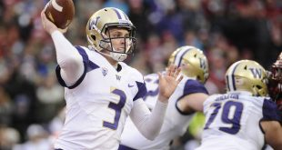 Nov 25, 2016; Pullman, WA, USA; Washington Huskies quarterback Jake Browning (3) throws a pass against the Washington State Cougars during the second half at Martin Stadium. The Huskies won 45-17. Mandatory Credit: James Snook-USA TODAY Sports