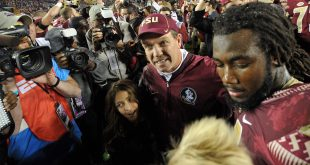 Nov 26, 2016; Tallahassee, FL, USA;  Florida State Seminoles head coach Jimbo Fisher with running back Dalvin Cook celebrate after the game against the Florida Gators at Doak Campbell Stadium. The Seminoles will play Michigan in The Capital One Orange Bowl December 30, 2016  ---Melina Vastola-USA TODAY