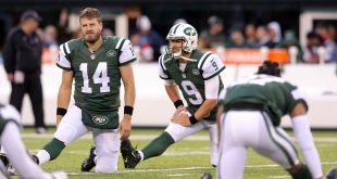 Nov 27, 2016; East Rutherford, NJ, USA; New York Jets quarterback Ryan Fitzpatrick (14) and quarterback Bryce Petty (9) stretch prior to their game against the New England Patriots at MetLife Stadium. Mandatory Credit: Brad Penner-USA TODAY Sports