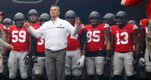 Nov 26, 2016; Columbus, OH, USA;  Ohio State Buckeyes head coach Urban Meyer leads the team onto the field before the game against the Michigan Wolverines at Ohio Stadium. Ohio State won 30-27. Mandatory Credit: Joe Maiorana-USA TODAY Sports