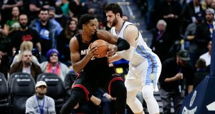 Nov 30, 2016; Denver, CO, USA; Denver Nuggets center Jusuf Nurkic (23) guards Miami Heat center Hassan Whiteside (21) in the first quarter at the Pepsi Center. Mandatory Credit: Isaiah J. Downing-USA TODAY Sports