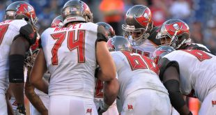 Dec 4, 2016; San Diego, CA, USA; Tampa Bay Buccaneers quarterback Jameis Winston (right) in the huddle during the second half against the San Diego Chargers at Qualcomm Stadium. Tampa Bay won 28-21. Mandatory Credit: Orlando Ramirez-USA TODAY Sports