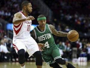 Dec 5, 2016; Houston, TX, USA; Boston Celtics guard Isaiah Thomas (4) dribbles the ball as Houston Rockets guard Eric Gordon (10) defends during the second quarter at Toyota Center. Mandatory Credit: Troy Taormina-USA TODAY Sports