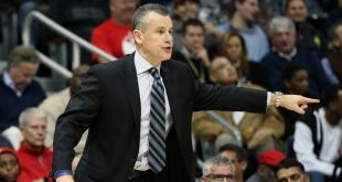 Dec 5, 2016; Atlanta, GA, USA; Oklahoma City Thunder head coach Billy Donovan is shown on the bench in the fourth quarter of their game against the Atlanta Hawks at Philips Arena. The Thunder won 102-99. Mandatory Credit: Jason Getz-USA TODAY Sports
