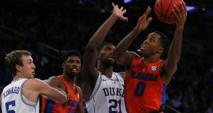Dec 6, 2016; New York, NY, USA; Florida Gators guard Kasey Hill (0) drives to the basket against Duke Blue Devils forward Amile Jefferson (21) during second half at Madison Square Garden. The Duke Blue Devils defeated the Florida Gators 84-74. Mandatory Credit: Noah K. Murray-USA TODAY Sports