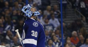 Dec 8, 2016; Tampa, FL, USA; Tampa Bay Lightning goalie Ben Bishop (30) reacts after a goal during the second period against the Tampa Bay Lightning at Amalie Arena. Mandatory Credit: Kim Klement-USA TODAY Sports