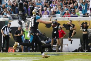 Dec 11, 2016; Jacksonville, FL, USA; Jacksonville Jaguars wide receiver Bryan Walters (81) scores a touchdown in the second half against the Minnesota Vikings at EverBank Field. The Vikings won 25-16. Mandatory Credit: Logan Bowles-USA TODAY Sports