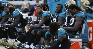 Dec 11, 2016; Jacksonville, FL, USA; Jacksonville Jaguars cornerback Jalen Ramsey (20) looks on from the bench with his teammates in the second half at EverBank Field. The Minnesota Vikings won 25-16. Mandatory Credit: Logan Bowles-USA TODAY Sports
