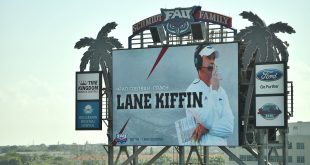 Dec 13, 2016; Boca Raton, FL, USA; A general view of the scoreboard welcoming new Florida Atlantic Owls head coach Lane Kiffin at FAU Football Stadium. Mandatory Credit: Jasen Vinlove-USA TODAY Sports