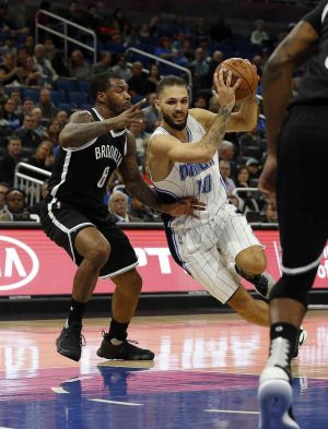 Dec 16, 2016; Orlando, FL, USA; Orlando Magic guard Evan Fournier (10) drives to the basket as Brooklyn Nets guard Sean Kilpatrick (6) defends during the first quarter at Amway Center. Mandatory Credit: Kim Klement-USA TODAY Sports