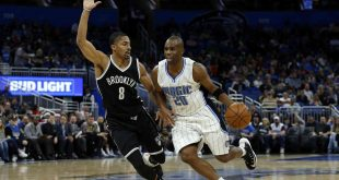 Dec 16, 2016; Orlando, FL, USA; Orlando Magic guard Jodie Meeks (20) drives to the basket as Brooklyn Nets guard Spencer Dinwiddie (8) defends during the second quarter at Amway Center. Mandatory Credit: Kim Klement-USA TODAY Sports