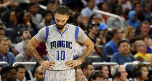 Dec 18, 2016; Orlando, FL, USA; Orlando Magic guard Evan Fournier (10) looks down after they called a foul against him against the Toronto Raptors during the second half at Amway Center. Toronto Raptors defeated the Orlando Magic 109-79. Mandatory Credit: Kim Klement-USA TODAY Sports