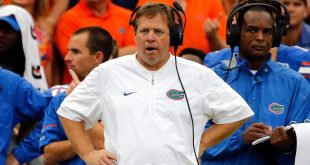Oct 15, 2016; Gainesville, FL, USA; Florida Gators head coach Jim McElwain looks on against the Missouri Tigers during the second half at Ben Hill Griffin Stadium. Florida Gators defeated the Missouri Tigers 40-14. Mandatory Credit: Kim Klement-USA TODAY Sports