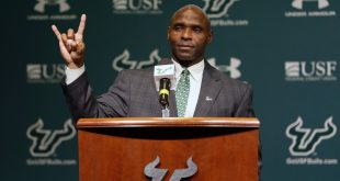 Dec 15, 2016; Tampa, FL, USA; University of South Florida head coach Charlie Strong speaks with the media at University of South Florida Campus. Mandatory Credit: Kim Klement-USA TODAY Sports