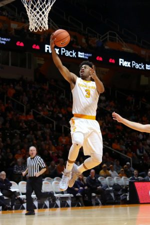 Dec 15, 2016; Knoxville, TN, USA; Tennessee Volunteers guard Robert Hubbs III (3) shoots the ball against the Lipscomb Bisons during the first half at Thompson-Boling Arena. Mandatory Credit: Randy Sartin-USA TODAY Sports