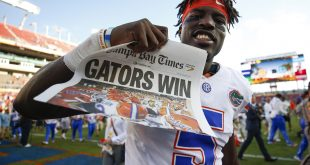 Jan 2, 2017; Tampa , FL, USA; Florida Gators wide receiver Ahmad Fulwood (5) celebrates after defeating the Iowa Hawkeyes 30-3 at Raymond James Stadium. Mandatory Credit: Logan Bowles-USA TODAY Sports
