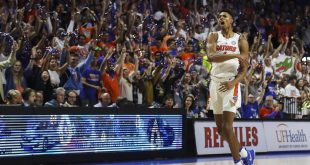 Jan 3, 2017; Gainesville, FL, USA; Florida Gators forward Devin Robinson (1) celebrates after a shot in the first half against the Mississippi Rebels at Exactech Arena at the Stephen C. O'Connell Center. Mandatory Credit: Logan Bowles-USA TODAY Sports