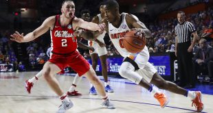 Jan 3, 2017; Gainesville, FL, USA; Mississippi Rebels guard Donte Fitzpatrick-Dorsey (0) defends Florida Gators guard Kasey Hill (0) in the first half at Exactech Arena at the Stephen C. O'Connell Center. Mandatory Credit: Logan Bowles-USA TODAY Sports