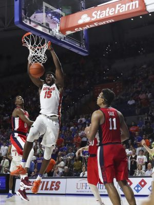 Jan 3, 2017; Gainesville, FL, USA; Florida Gators center John Egbunu (15) dunks the ball in the second half against the Mississippi Rebels at Exactech Arena at the Stephen C. O'Connell Center. The Florida Gators won 70-63. Mandatory Credit: Logan Bowles-USA TODAY Sports
