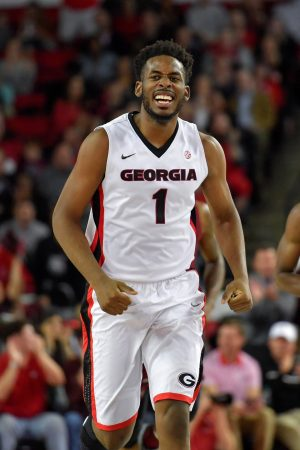 Jan 4, 2017; Athens, GA, USA; Georgia Bulldogs forward Yante Maten (1) reacts after scoring against the South Carolina Gamecocks during the first half at Stegeman Coliseum. South Carolina defeated Georgia 67-61. Mandatory Credit: Dale Zanine-USA TODAY Sports