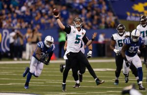 Jan 1, 2017; Indianapolis, IN, USA; Jacksonville Jaguars quarterback Blake Bortles (5) throws a pass against the Indianapolis Colts at Lucas Oil Stadium. Indianapolis defeats Jacksonville 24-20. Mandatory Credit: Brian Spurlock-USA TODAY Sports