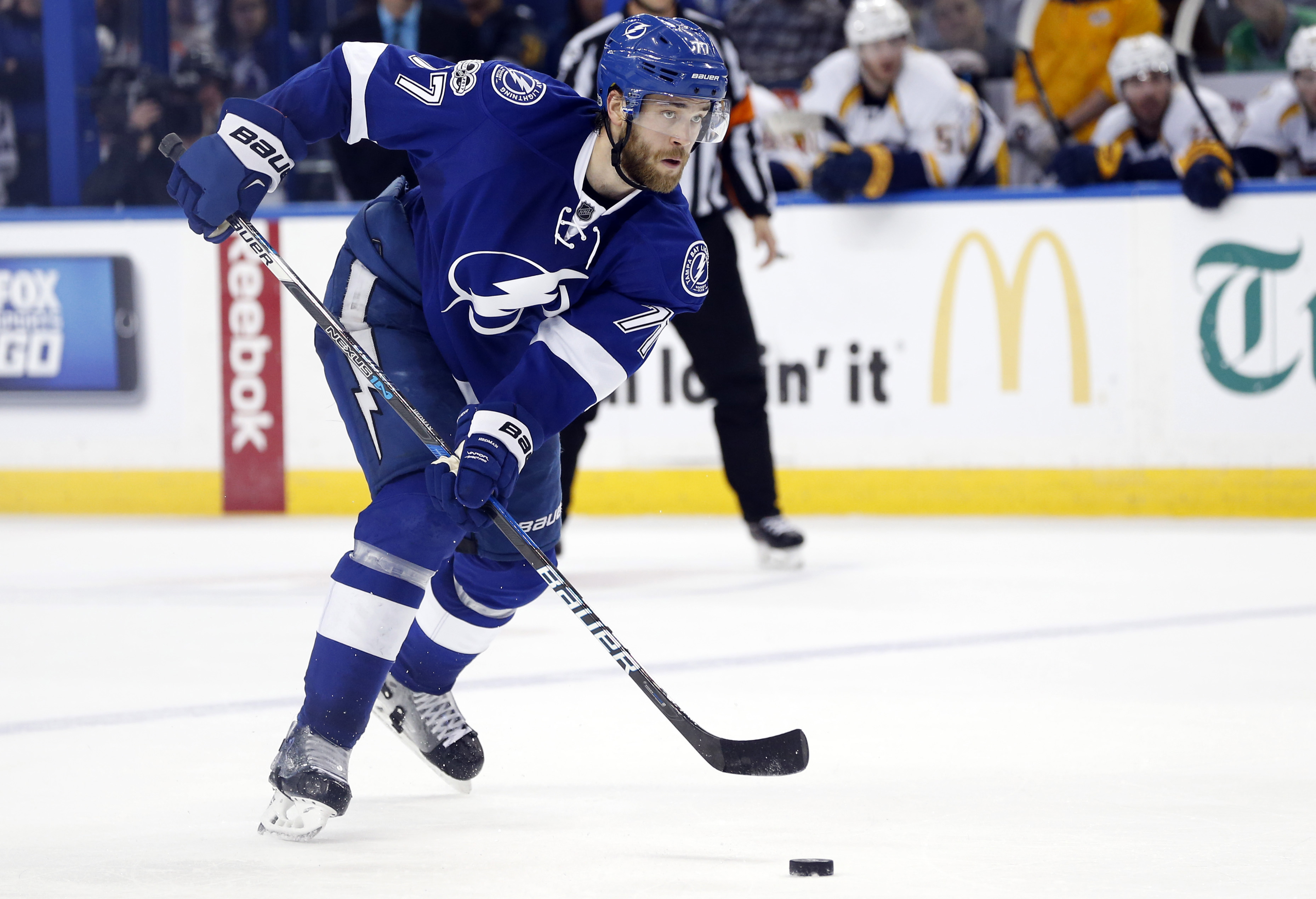 Jan 5, 2017; Tampa, FL, USA;Tampa Bay Lightning defenseman Victor Hedman (77) skates with the puck against the Nashville Predators during the third period at Amalie Arena. Nashville Predators defeated the 6-1. Mandatory Credit: Kim Klement-USA TODAY Sports
