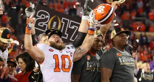 Jan 9, 2017; Tampa, FL, USA;  Clemson Tigers linebacker Ben Boulware (10) celebrates after defeating the Alabama Crimson Tide 35-31 in the 2017 College Football Playoff National Championship Game at Raymond James Stadium. Mandatory Credit: Matthew Emmons-USA TODAY Sports