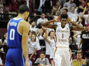 Jan 10, 2017; Tallahassee, FL, USA; Florida State Seminoles forward Jonathan Isaac (1) celebrates during the second half of the game against the Duke Blue Devils at the Donald L. Tucker Center. Mandatory Credit: Melina Vastola-USA TODAY Sports