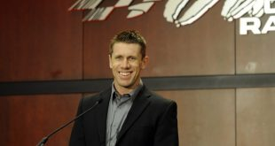 Jan 11, 2017; Huntersville, NC, USA; NASCAR driver Carl Edwards announces his retirement during a press conference at Joe Gibbs Racing headquarters. Mandatory Credit: Sam Sharpe-USA TODAY Sports