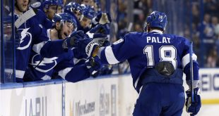 Jan 12, 2017; Tampa, FL, USA;  Tampa Bay Lightning left wing Ondrej Palat (18) is congratulated by the bench after scoring a goal against the Buffalo Sabres during the second period at Amalie Arena. Mandatory Credit: Kim Klement-USA TODAY Sports