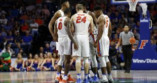 Jan 14, 2017; Gainesville, FL, USA; Florida Gators guard Kasey Hill (0), guard Canyon Barry (24), guard KeVaughn Allen (5), forward Devin Robinson (1) and forward Keith Stone (25) huddle up during overtime against the Georgia Bulldogs at Exactech Arena at the Stephen C. O'Connell Center. Florida Gators defeated the Georgia Bulldogs 80-76 in overtime. Mandatory Credit: Kim Klement-USA TODAY Sports