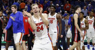 Jan 14, 2017; Gainesville, FL, USA; Florida Gators guard Canyon Barry (24) reacts after they beat the Georgia Bulldogs in overtime at Exactech Arena at the Stephen C. O'Connell Center. Florida Gators defeated the Georgia Bulldogs 80-76 in overtime. Mandatory Credit: Kim Klement-USA TODAY Sports